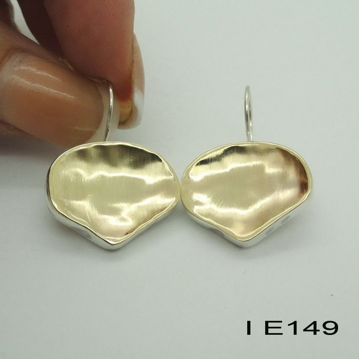 Fine Handmade Israel Organic Art Yellow Gold Silver Earrings (I e149)