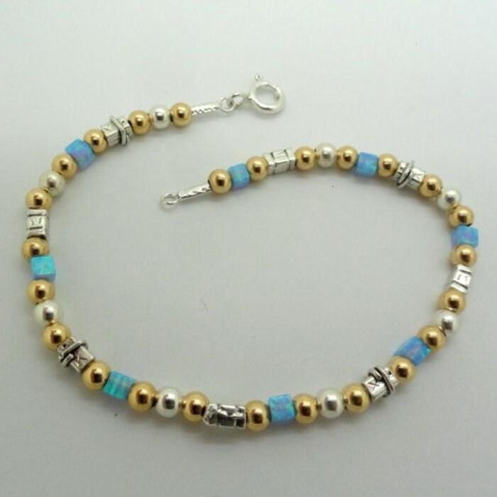 NEW ISRAELdesign Handcrafted Opal Sterling Silver 925 14K Gold Filled Bracelet