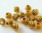 35 Antique gold beads tibetan style spacers large hole beads 6mm x 5mm F5166Y no lead,nickel or cadmium