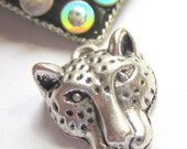 6  Snow leopard jewelry pendants leopard charms jewelry making supply animal pendants antique silver 19mm x 15mm S132
