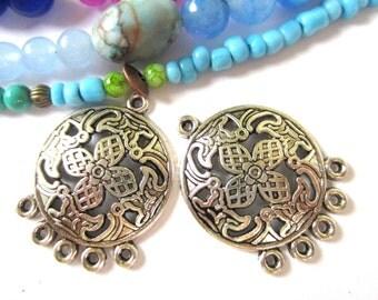 8 Earring dangles boho gypsy earring  hoops hippie jewelry findings 29mm x  23mm bohemian antique silver diy jewelry supply-(G4),