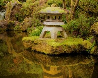 Japanese Garden photo  Autumn Photography Koi Pond Photograph Zen Buddism Shrine Fall Colors Green nat70