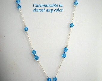 Handmade Swarovski Aquamarine and Pearl Necklace  with Cosmic Crystal Drop and Earrings to match