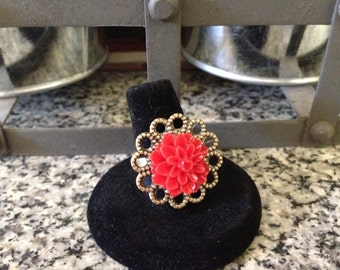 Antique Bronze Filigree Adjustable Ring with Red Chrysanthemum Cabochon