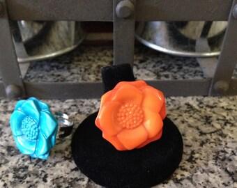 Resin Flower Button Ring