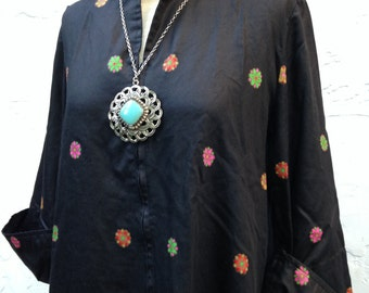 SALE 60's Groovy BOHO Chic Black and FLORAL Mod Caftan Shift Dress // David Brown California // Bell Sleeves// 60's Tunic