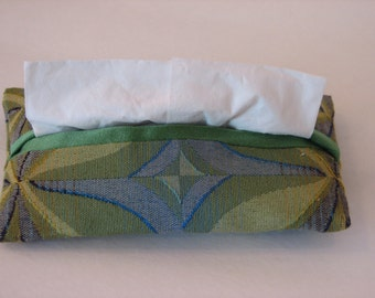 Tissue Cover, Psychedelic Green, Yellow and Blue, Travel Size