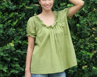 SALE 26 USD--B168---Cute cotton blouse