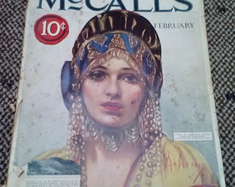 Im on Clearance...McCalls Magazine February Volume LI, Number 5////Rare vtg1924 McCalls Art Deco Era Magazine Advertisements Fashion