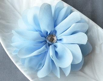 3 Light Blue Rhinestone Ballerina Twirl Flower Chiffon Flower Soft Fabric Silk Bridal Wedding Baby Hair Comb Pin Headband SF110