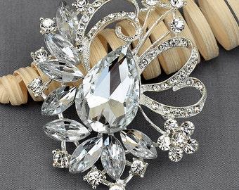 Rhinestone Brooch Embellishment Crystal Brooch Bridal Wedding Brooch Bouquet Cake Invitation Hair Comb Shoe Clip Pin DIY BR367
