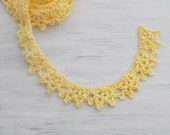 Crochet Border Trim - Lace - Cotton - Handmade Edging - Bright Yellow - One Yard -