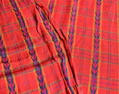 Vintage Fabric - Embroidered Red Stripe Plaid - Soft Cotton - By the Yard