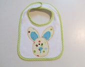 Ready To Ship,Babies Easter Bib with Lime Green Trim and Cute Applique Bunny