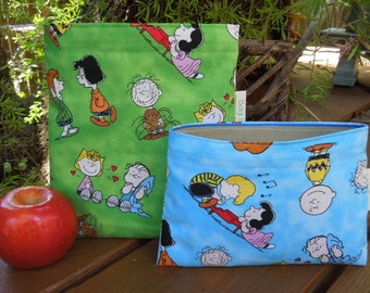 Reusable sandwich and/or snack bag - Charlie Brown