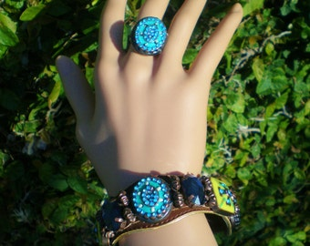 Vintage Bracelet Bangle Cuff Matching Ring Celtic Cross Mediterranean Renaissance Turquoise LIme Green Copper Beading BoHo Hippie Statement