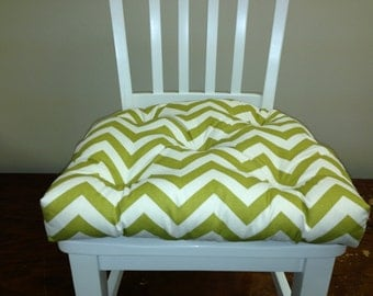 Set of 2, 4, 6, 8 tufted chair pads, seat cushions, bar stool cushions, citrine artist green and white chevron zig zag