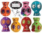 Digital Download Sugar Skulls embroidered on felt colorful Day of the Dead