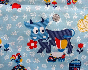Vintage Novelty Juvenile Cotton Fabric Yardage BIG EYES COWS, Little Girls, Chickens on Blue Background