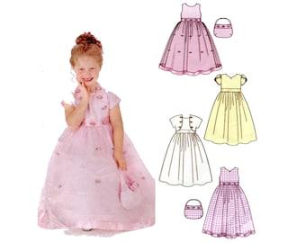 Girls Formal Dress Pattern Flower Girl Gown, Bolero Jacket and Purse Simplicity 5638 Size 3 4 5 6 Girls Full Skirt Dress Sewing Pattern