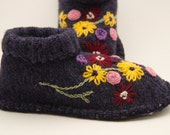 Womens upcycled pure wool handmade floral slippers