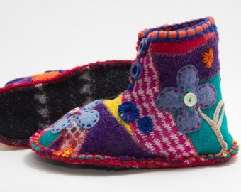 One of a kind handmade crazy patchwork colourful boots  from upcycled sweaters