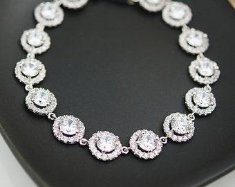 Wedding Jewelry Bridal Jewelry Bridesmaids Gift Bridal Bracelet Bridesmaid Bracelet Cubic Zirconia Halo style Bracelet