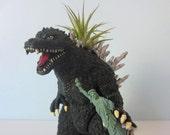 Upcycled Godzilla Planter - Extra Large Godzilla Toy with Air Plant