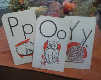 Vintage Children's School Flash Card 1975 Owl Pie Yarn
