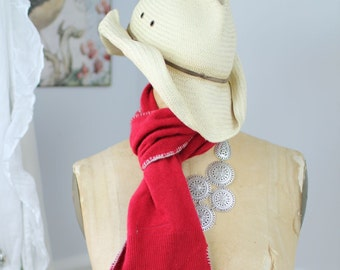 Lush, hand-crocheted scarves made from repurposed cashmere sweaters (in red)