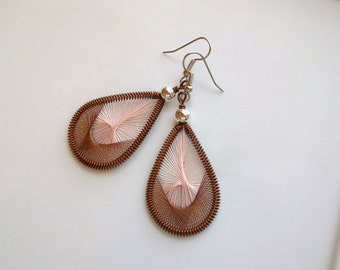 Toasted Bisque Handwoven Thread Earrings
