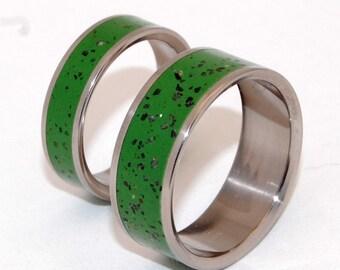 Titanium Wedding Ring Set, concrete wedding ring, stone ring, matching wedding set, mens ring, womens ring, handmade ring,  - PICNIC