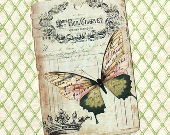 Tags, French Butterfly Tags, Vintage Style Tags
