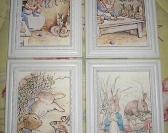 Peter Rabbit by Beatrix Potter -Four Framed Prints