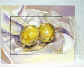 Two Lemons Original Watercolor Painting- Still Life- 7.75x10- Yellow, Purple- Kitchen  Fruit Art