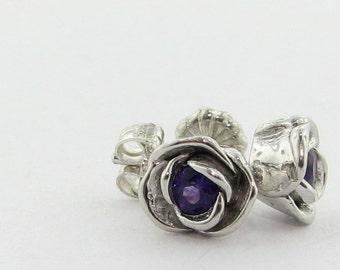 Petite Rose Post Earrings, Amethyst and Silver