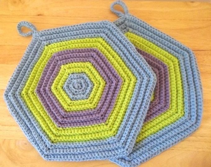 Potholder - Set of Two Crochet Potholder - Hexagon