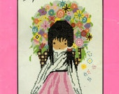 Flower Girl DeGrazia Mexican Indian Child Long Dress Flower Bakset Shawl Counted Cross Stitch Embroidery Pattern Craft Leaflet