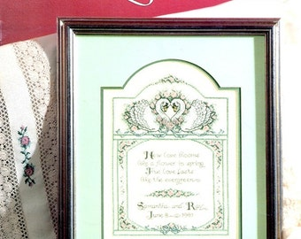When Love Blooms Wedding Sampler White Swans Heart Shaped Pink Roses Counted Cross Stitch Embroidery Craft Pattern Leaflet 2023 Leisure Arts