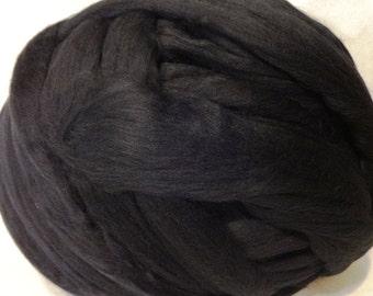 Wool Roving - Black Merino Wool Roving - 8 oz