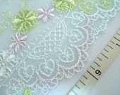 Embroidered lace, Lace trim, Green lace, Wedding lace, Tulle lace, Girls tutu fabric, 2 yards GN002