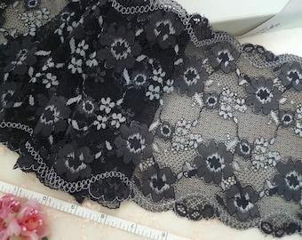 Elastic lace, Stretch lace, Black lace, Lingerie lace, Spandex lace, Floral lace, 2 yards BK124