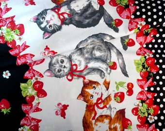 Lolita fabric, Japanese fabric, Cotton fabric, Kitten fabric, Cherry fabric, Strawberry fabric, DIY craft fabric, Quilt fabric, 1 yard FB123