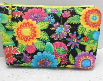 Zipper Bag Cosmetic, Camera, Gadget Bag  Glass Beads Zipper Pull  Handmade by SEW FUN QUILTS