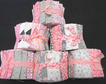 Pink and Gray Quilt Fabric Jelly Roll Strips - SEW FUN QUILTS Time Saver Quilt Kit