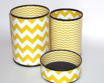 Goldenrod and White Chevron Desk Accessories - Pencil Holder - Pencil Cup - Pencil Can - Storage and Organization - Office Decor - 626