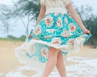 LAST ONE! Ocean Breeze (coordinating line) twirl peasant dress/sash, sizes 6mos.-8 girls