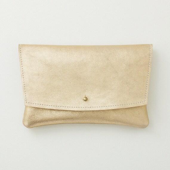 Metallic Gold Leather Envelope Clutch, Wedding Clutch, Formal Clutch, Evening Clutch