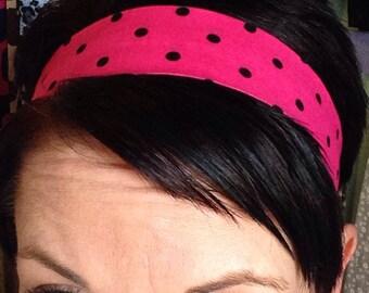 Hot Pink Stay Put Headband w/ Black Polka Dots