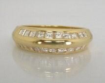 Vintage Diamond Wedding Band - 18K Yellow Gold Diamond Wedding Band - 0.50 Carats Square Step Diamonds - Appraisal Included